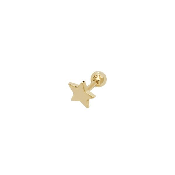 Genuine 9 CT Yellow Gold Star Cartilage 6mm Post Stud 1