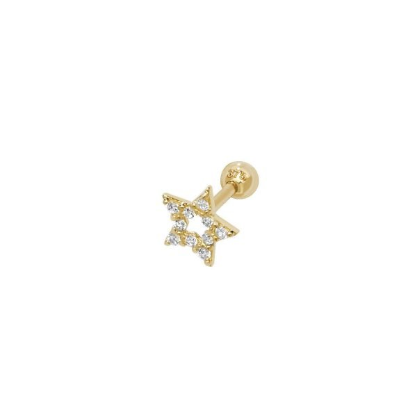 Genuine 9CT Yellow Gold Star CZ Cartilage 6mm Post Stud 1