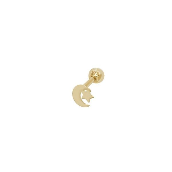 Genuine 9CT Yellow Gold Moon & Star Cartilage 6mm Post Stud 1