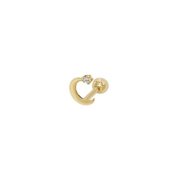 Genuine 9CT Yellow Gold Moon with CZ Cartilage 6mm Post Stud 1