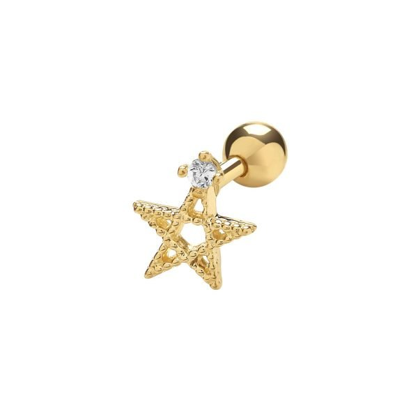 Genuine 9CT Yellow Gold Star with Single CZ Cartilage 6mm Post Stud 1