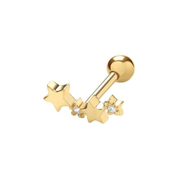 Genuine 9CT Yellow Gold CZ Constellation Cartilage 6mm Post Stud 1