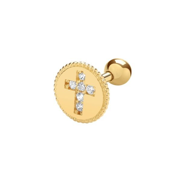 Genuine 9CT Yellow Gold Round MGRN with CZ Cross Cartilage 6mm Post Stud 1