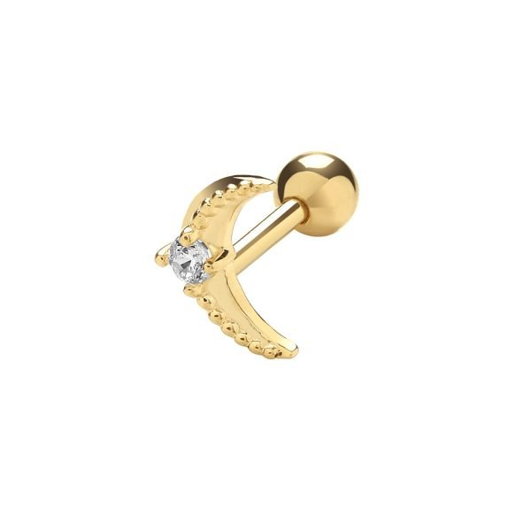 Genuine 9CT Yellow Gold Bird with Single CZ Cartilage 6mm Post Stud 1