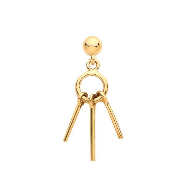 Genuine 9CT Yellow Gold Dangling Cartilage 6mm Post Stud 1