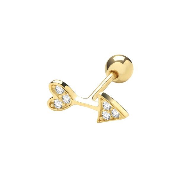 Genuine 9CT Yellow Gold CZ Arrow Cartilage 6 mm Post Stud 1