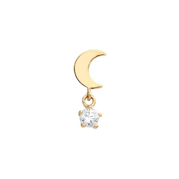 Genuine 9CT Yellow Gold Moon Cartilage 6 mm Post Stud with Dangle CZ 1