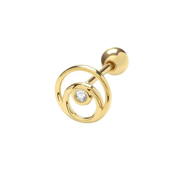 Genuine 9CT Yellow Gold Concentric CZ Circle Cartilage 6 mm Post Stud 1