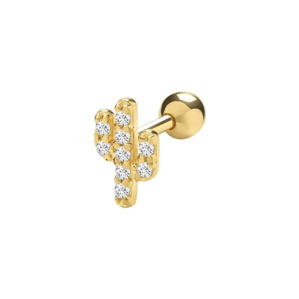 Genuine 9CT Yellow Gold CZ Cactus Cartilage 6mm Post Stud 1