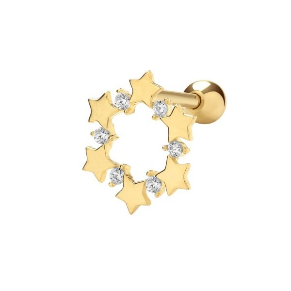 Genuine 9CT Yellow Gold CZ Stars Circle Cartilage 6 mm Post Stud 1