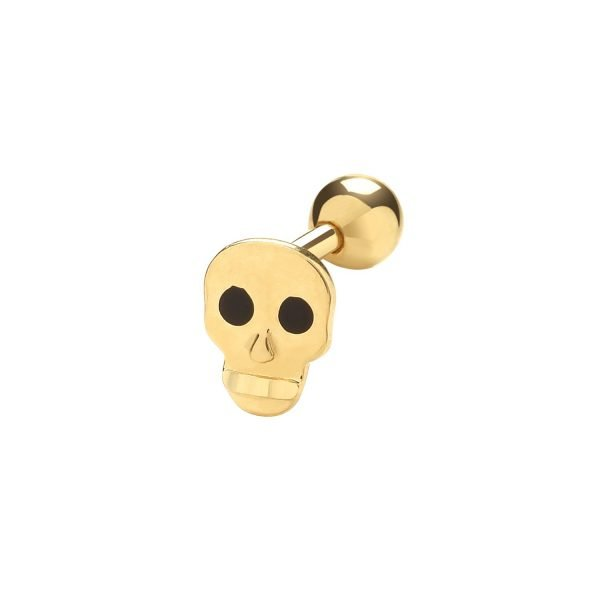 Genuine 9CT Yellow Gold Skull Cartilage 6mm Post Stud 1