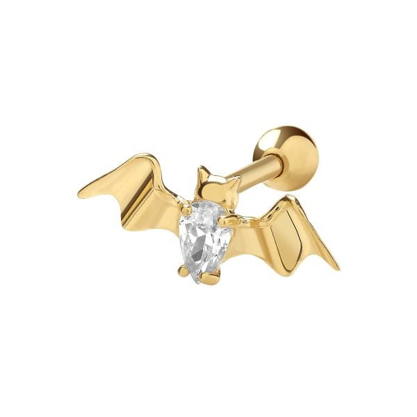 Genuine 9CT Yellow Gold CZ Bat Cartilage 6mm Post Stud 1