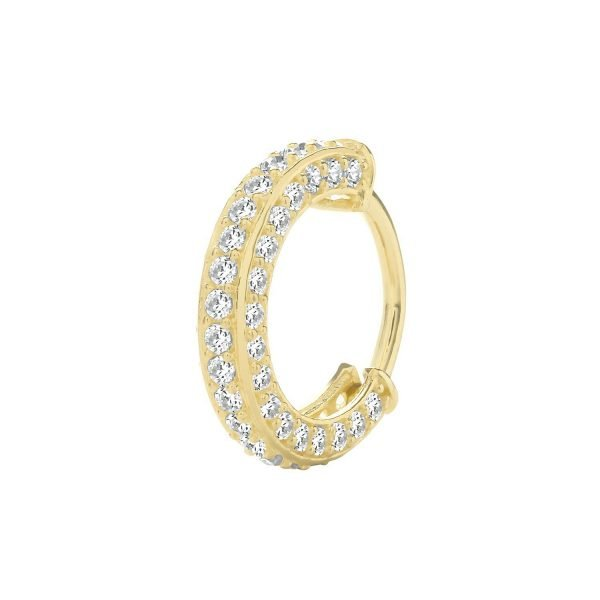 Genuine 9CT Yellow Gold CZ Set Cartilage Hoop Earring 1