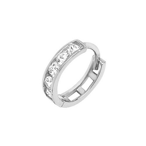 Genuine 9CT White Gold CZ Cartilage Hoop Earring 1