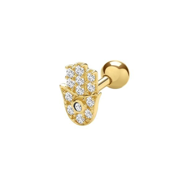 Genuine 9CT Yellow Gold CZ Hamsa Cartilage 6 mm Post Stud 1