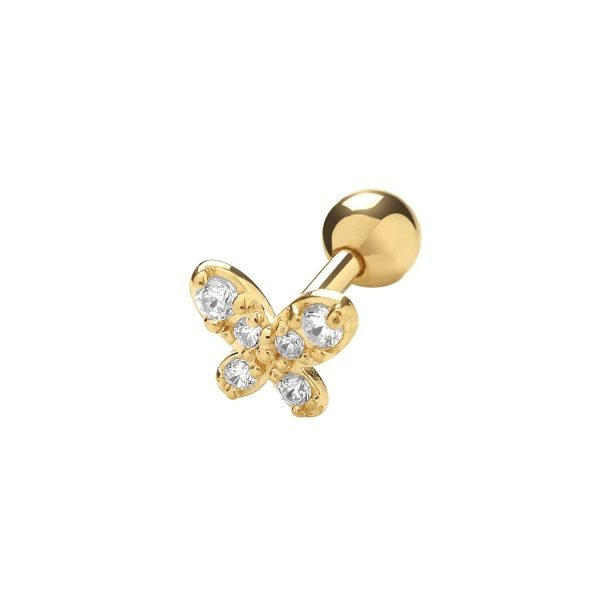 Genuine 9CT Yellow Gold CZ Butterfly Cartilage 6mm Post Stud 1