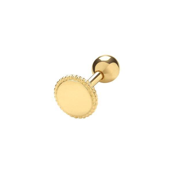 Genuine 9CT Yellow Round Millgrain Cartilage 6 mm Post Stud 1
