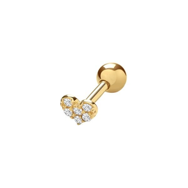 Genuine 9CT Yellow Gold CZ Heart Cartilage 6 mm Post Stud 1