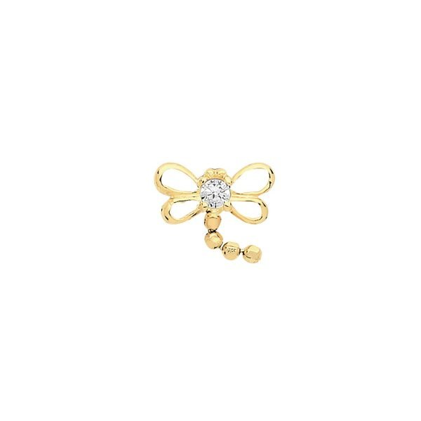 Genuine 9CT Yellow Gold CZ Dragonfly Cartilage 6mm Post Stud 1