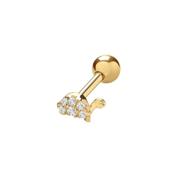 Genuine 9CT Yellow Gold CZ Turtle Cartilage 6mm Post Stud 1