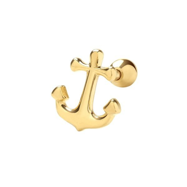Genuine 9CT Yellow Gold Anchor Cartilage 6mm Post Stud 1