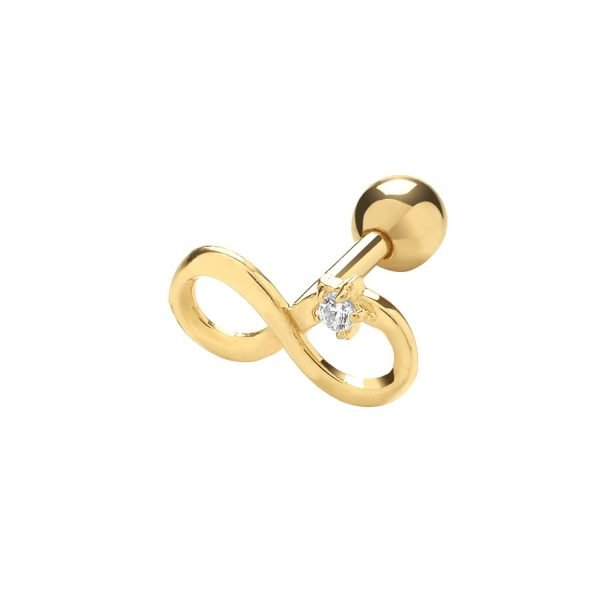 Genuine 9CT Yellow Gold Infinity with Single CZ Cartilage 6 mm Post Stud 1