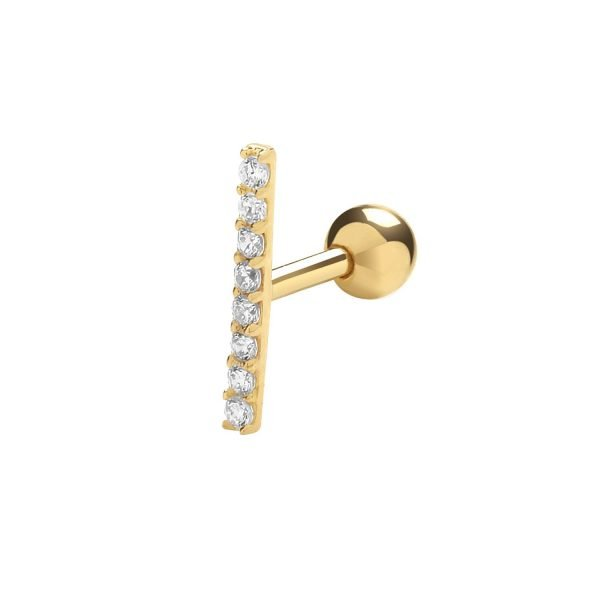 Genuine 9CT Yellow Gold CZ Bar Cartilage 6mm Post Stud 1