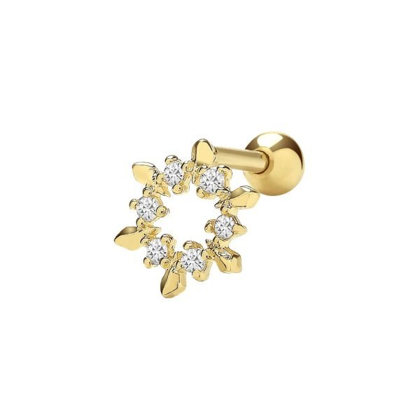 Genuine 9CT Yellow Gold CZ Compass Cartilage 6 mm Post Stud 1