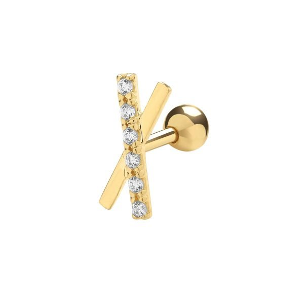 Genuine 9CT Yellow Gold CZ X Shape Cartilage 6mm Post Stud 1