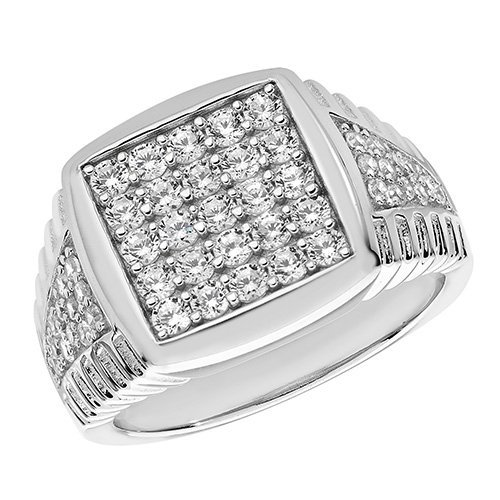 Sterling Silver Men's Stone Set Cz Ring Gift boxed Mens 7.3 Grams Silver Ring 1