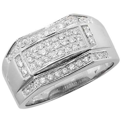 Sterling Silver 925 Men's Stone Set Cz Ring 9.50 Grams Gift boxed Silver Ring 1
