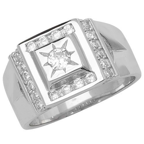 Sterling Silver 925 Men's Stone Set Cz Ring 6.50 Grams Gift boxed Silver Ring 1