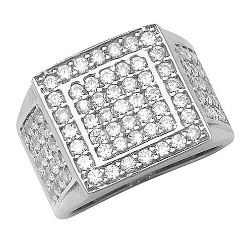 Sterling Silver Men's Stone Set Cz Ring Gift boxed Mens 8.9 Grams Silver Ring 1