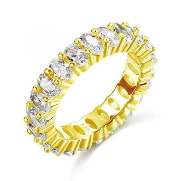 Oval Cut Eternity Solid Sterling 925 Silver Yellow Gold Plated Wedding Ring Band 1