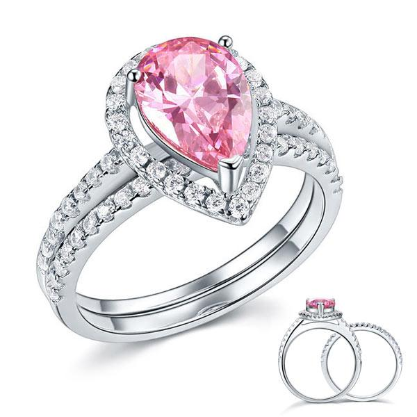 Sterling 925 Silver Bridal Wedding Engagement Ring Set 2 Carat Pear Fancy Ring 1