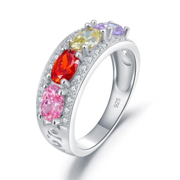 Wedding Band Multi-Color Stone Anniversary Solid 925 Sterling Silver Ring 1