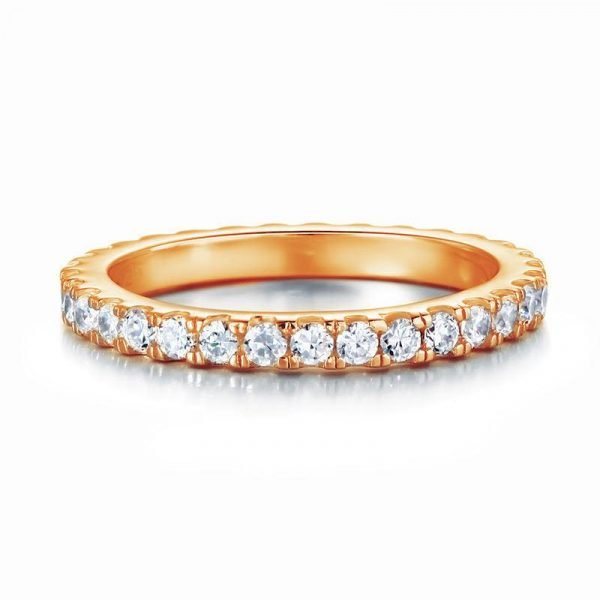 Eternity Ring Created Diamond Solid Sterling 925 Silver Rose Gold Plated Wedding Band 1