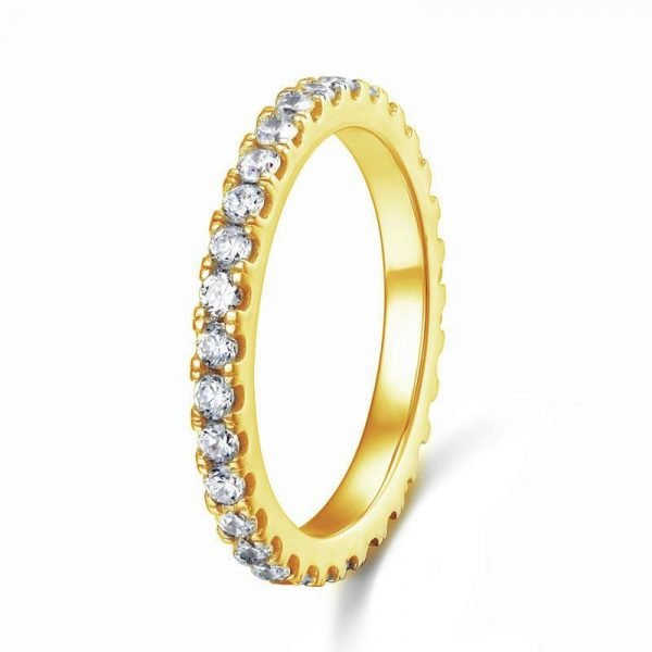 Eternity Ring Created Diamond Solid Sterling 925 Silver Yellow Gold Plated Wedding Band 1