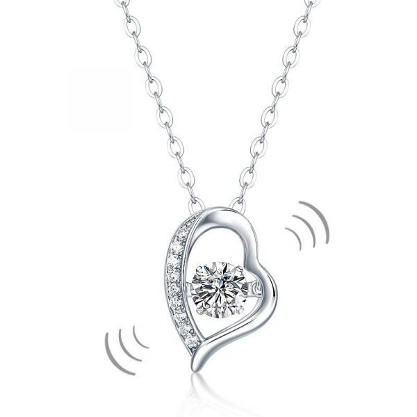 0.5 Carat Moissanite Diamond Dancing Stone Heart Necklace 925 Sterling Silver 1