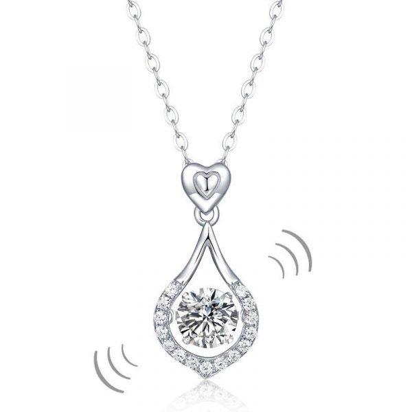 1 Carat Moissanite Diamond Dancing Stone Tear Drop Necklace 925 Sterling Silver 1