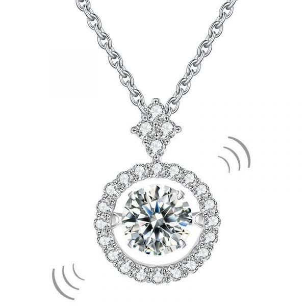 1 Carat Moissanite Diamond Dancing Stone Necklace 925 Sterling Silver 1