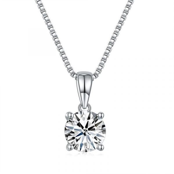 1 Carat Moissanite Diamond Pendant Necklace 925 Sterling Silver 1