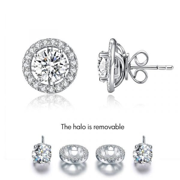 1 Carat Moissanite Diamond 6 Claws Stud Earrings 925 Sterling Silver 1