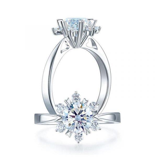 1 Carat Moissanite Diamond Flower Engagement 925 Sterling Silver Ring 1