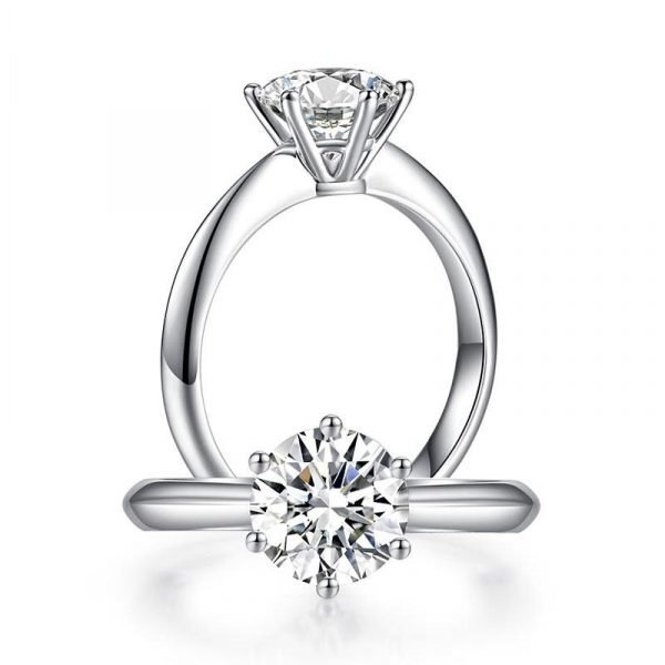 1.5 Carat Moissanite Diamond Solitaire Engagement Ring 925 Sterling Silver 1