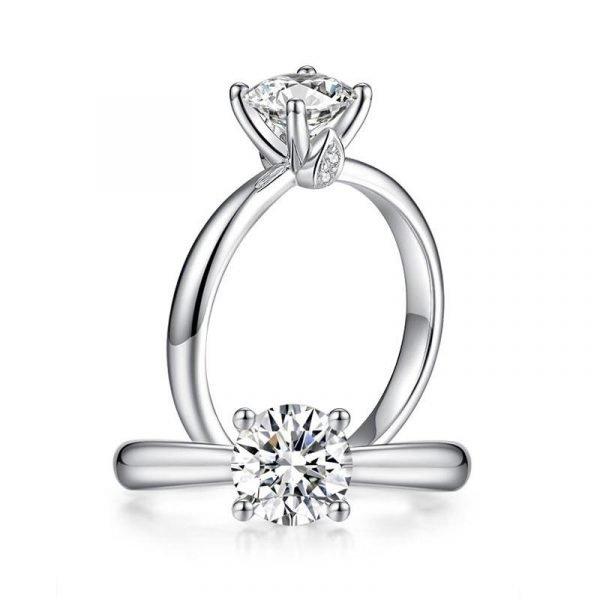 1 Carat Moissanite Diamond Ring Wedding Engagement 925 Sterling Silver 1