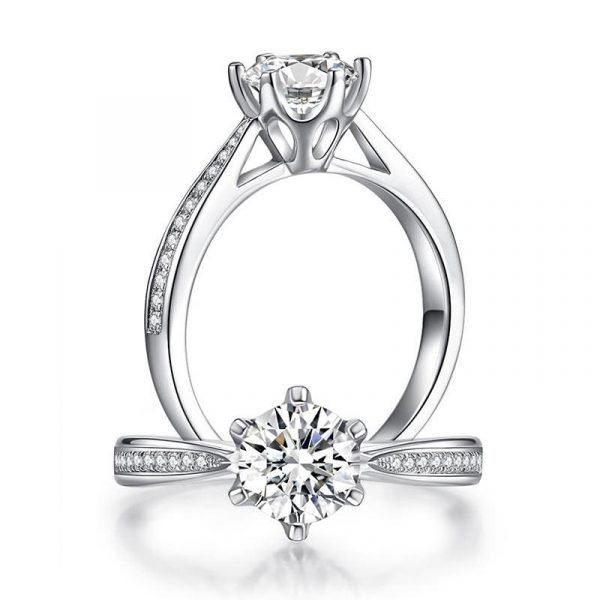 1 Carat Moissanite Diamond Ring Engagement 925 Sterling Silver 1