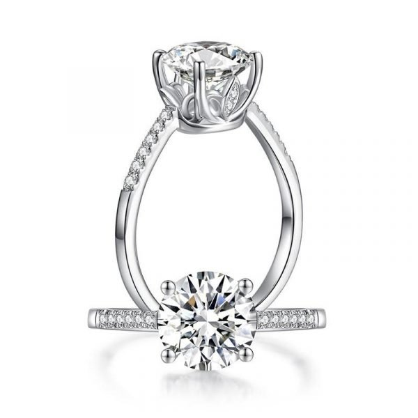 2 Carat Moissanite Diamond (8 mm) Engagement Ring 925 Sterling Silver 1