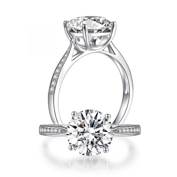 2.5 Carat Moissanite Diamond (9 mm) Luxury Ring Engagement 925 Sterling Silver 1