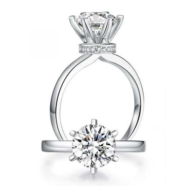 2 Carat Moissanite Diamond (8 mm) 6 Claws Engagement Ring 925 Sterling Silver 1